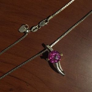 Jewelry - Sterling silver and pink topaz necklace